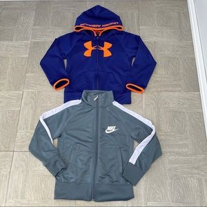 2 boys jackets Under Armour Nike XS 6 blue hoodie
